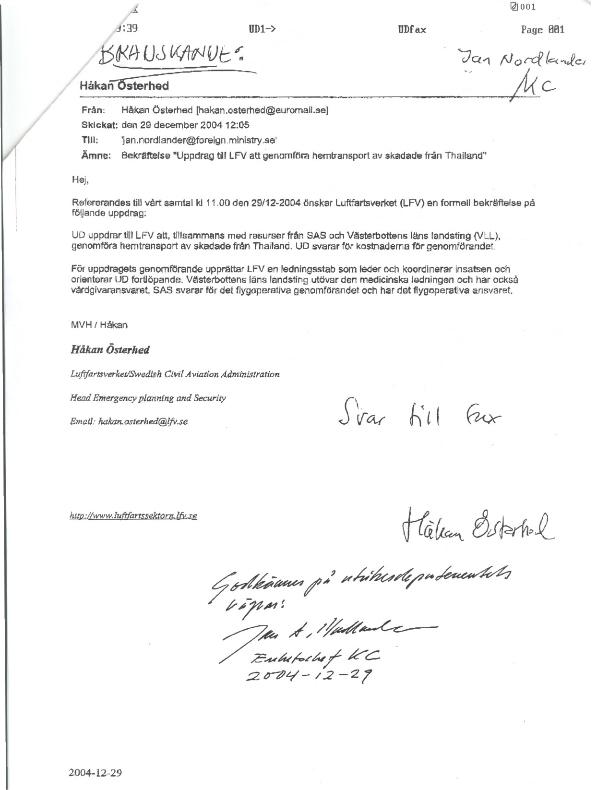Fax, uppdrag från UD.