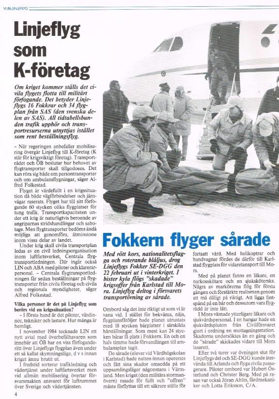 Om Linjeflyg som K-företag och reportage från sjuktransportövning med F28